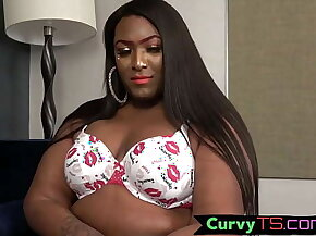Thicc black shemale pleasuring her cock